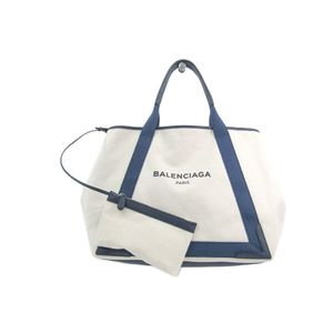 Balenciaga Navy Cabas M 339936 Unisex Canvas Leather Tote Bag Ivory,Navy