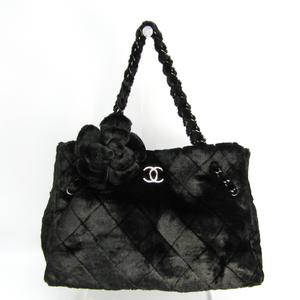 シャネル(Chanel) カメリア付き チェーン レディース フェイクファー,レザー トートバッグ ブラック