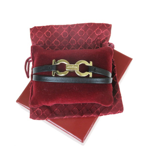 Salvatore Ferragamo Gancini Double Winding Leather Charm Bracelet Black