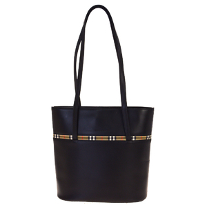 Burberry Nova Check Leather,Nylon Shoulder Bag Black