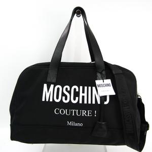 モスキーノ(Moschino) ロゴ A74208201 ユニセックス レザー,ナイロンキャンバス ボストンバッグ ブラック,ホワイト