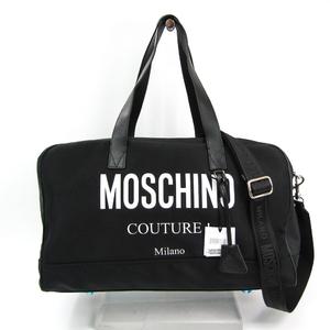 モスキーノ(Moschino) ロゴ A90028201 ユニセックス レザー,ナイロンキャンバス ボストンバッグ ブラック,ホワイト
