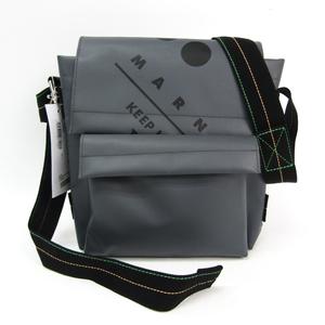 マルニ(Marni) SBMQ0001A0 ユニセックス ポリエステル,PVC ショルダーバッグ ブラック,グレー