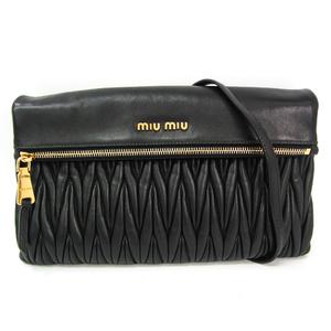 ミュウミュウ(Miu Miu) マテラッセ RP0385 レディース レザー クラッチバッグ,ショルダーバッグ ブラック