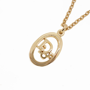 Auth Christian Dior Necklace Logo Motif GP Plated Gold Color Chain Necklace
