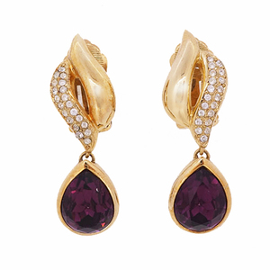 Christian Dior Earrings GP Plated Rhinestone Glass Gold Color Drop Earrings Vintage Old Dior