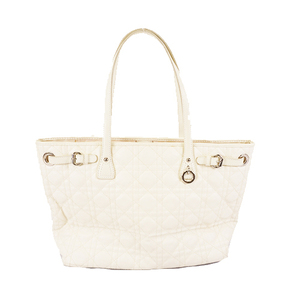 Christian Dior Tote Bag Canage Coated Canvas White