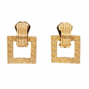 Christian Dior Earring GP Plated Square Form Gold Color Vintage Old Dior