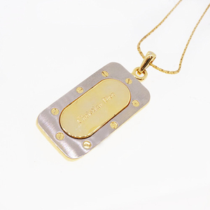 Christian Dior Necklace GP Plated Square Plate Logo Motif Gold Silver Color