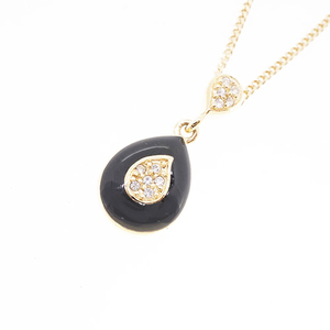 Christian Dior Necklace GP Plated Rhinestone Gold color