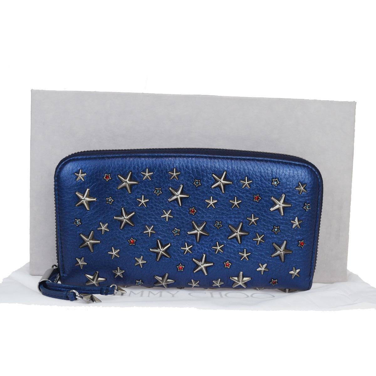 ジミーチュウ(Jimmy Choo) スタッズ レザー 長財布(二つ折り) ブルー