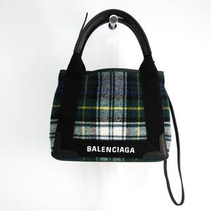 バレンシアガ(Balenciaga) ネイビーカバスXS 390346 レディース キャンバス,レザー ハンドバッグ,ショルダーバッグ ブラック,グリーン,マルチカラー