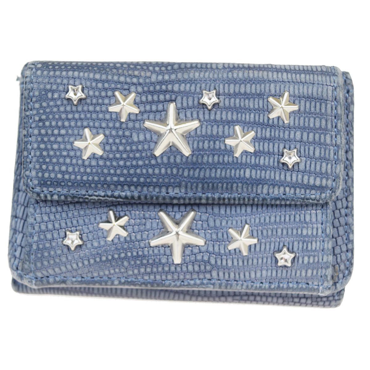 ジミーチュウ(Jimmy Choo) 型押し エンボスド 財布(三つ折り) ブルー