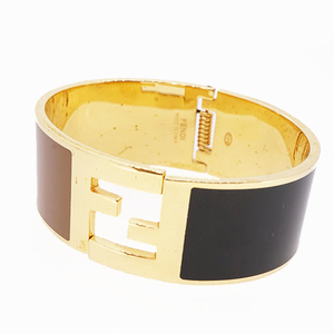 Auth Fendi Bangle F Mark Logo Motif GP Plated Gold Color Bracelet