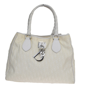 Christian Dior Trotter Nylon,Leather Shoulder Bag Ivory