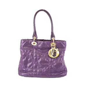 Christian Dior Cannage Tote Bag Coated Canvas Handbag Tote Bag Purple
