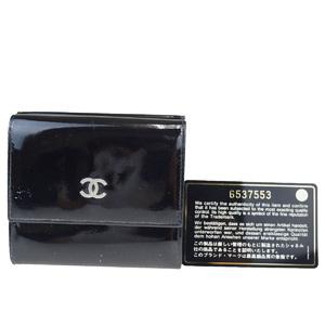 シャネル(Chanel) ココマーク パテントレザー 財布(三つ折り) ブラック