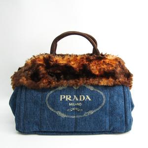 プラダ(Prada) カナパ BN2182 レディース デニム,スエード トートバッグ ブルー,ブラウン