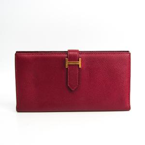 エルメス(Hermes) ベアン クラシック レディース エプソン 長財布(二つ折り) ダークレッド