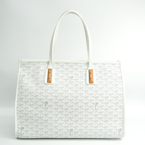 Goyard Marquise Women's Coated Canvas,Leather Tote Bag Gray,White