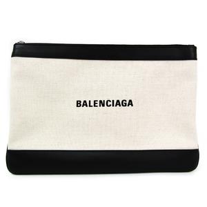 バレンシアガ(Balenciaga) クラシック クリップM 420407 ユニセックス レザー,キャンバス クラッチバッグ ブラック,アイボリー