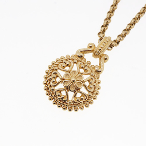 Auth Christian Dior Necklace Flower Motif GP Plated Gold Color Chain Necklace Vintage Old Dior
