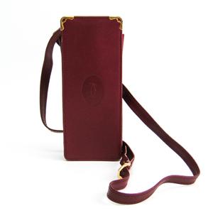 カルティエ(Cartier) マスト 携帯電話ケース 小物入れケース レザー ポーチ ボルドー