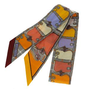 エルメス(Hermes) ツイリー シルク スカーフ グレー,オレンジ