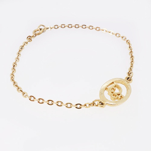 Christian Dior bracelet logo motif GP plated gold color chain bracelet