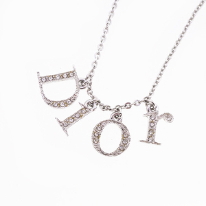 Auth Christian Dior Necklace Logo Motif Logo Charm Metal Material Silver Color