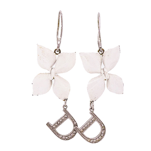 Christian Dior Pierce Flower Motif D Mark Logo Motif Rhinestone Metal Hoop Earrings Silver White