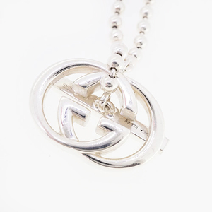 Auth Gucci Necklace GG Mark Logo Motif Silver 925 Chain Necklace