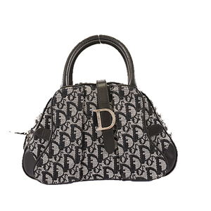 Christian Dior Trotter Handbag Women's Canvas Black Gray