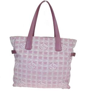 シャネル(Chanel) ニュートラベルライン GM ジャカード,レザー ショルダーバッグ ピンク