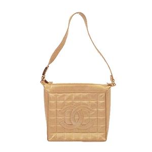 シャネル ハンドバッグ チョコバー ラムスキン ゴールド ゴールド金具
