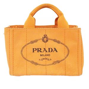 プラダ トートバッグ カナパ キャンバス オレンジ ゴールド金具