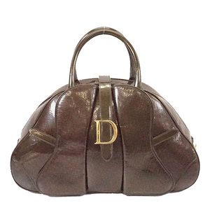 Auth Christian Dior Handbag Ultimate Women's Patent Leather Brown