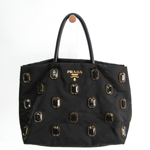 Prada TESSUTO PIETRE Bijou BN1752 Women's Leather,Nylon Handbag Black