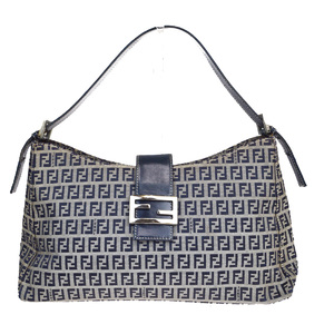 Fendi Zucca Canvas,Leather Shoulder Bag Navy