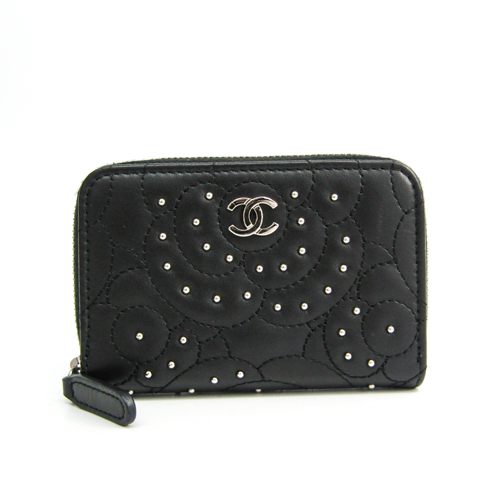 Chanel Camellia Studs & Strass Card Case Women's  Lambskin Coin Purse/coin Case Black
