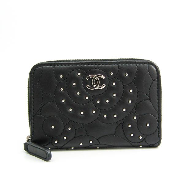 Chanel Camellia Studs & Strass Card Case Women's  Lambskin Coin Purse/coin Case Black