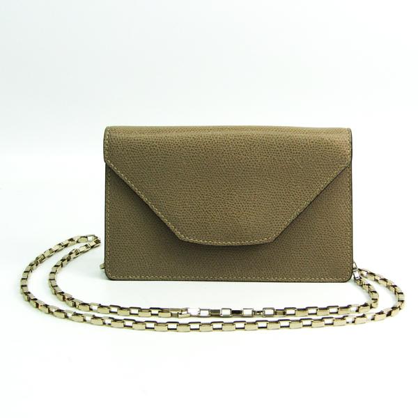 Valextra Chain Women's Leather Pouch,Shoulder Bag Grayish
