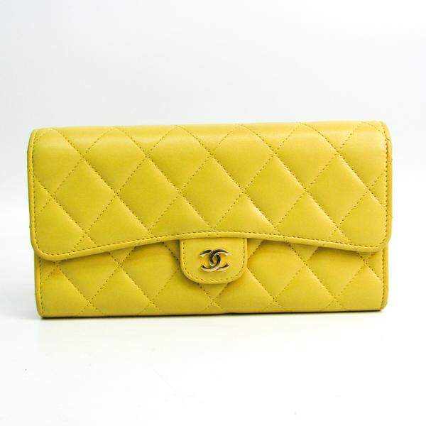 Chanel Matelasse Women's  Lambskin Long Wallet (bi-fold) Yellow