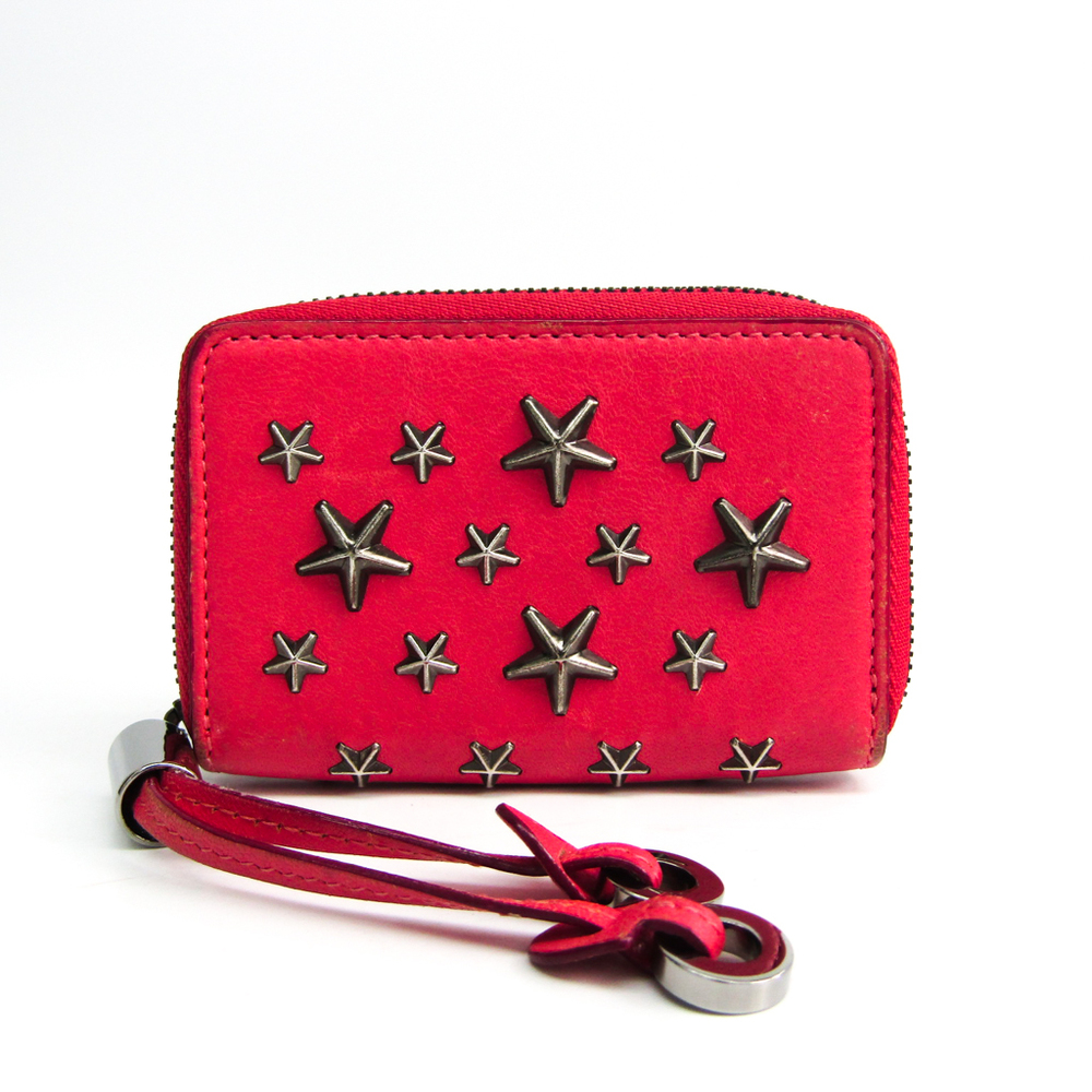 Jimmy Choo NELLIE Women's Leather Studded Coin Purse/coin Case Pink