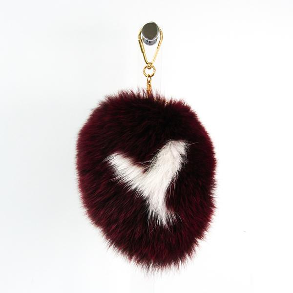 Louis Vuitton Fur,Metal Handbag Charm Amarante,Gold,White Fuzzy V Keychain M67370