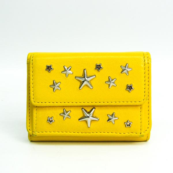 Jimmy Choo Nemo Women's Leather Studded Wallet (tri-fold) Yellow