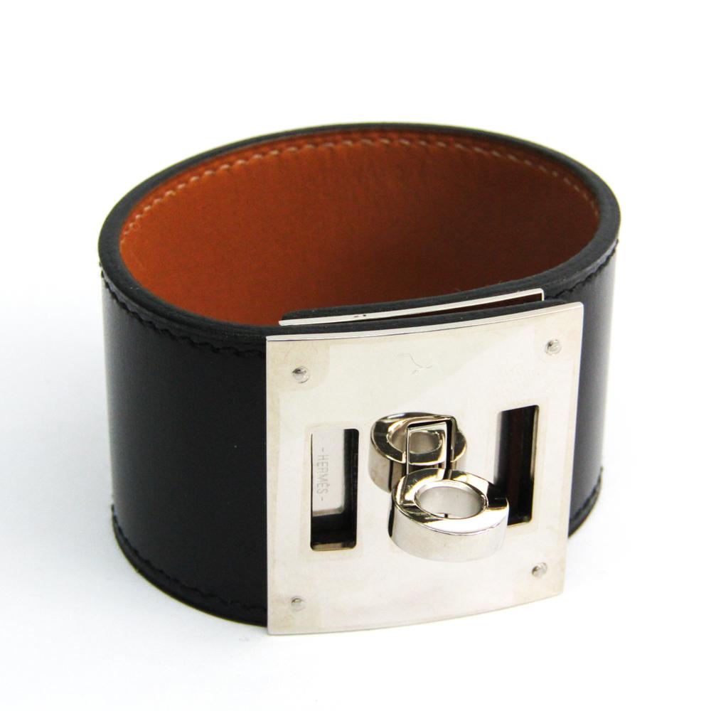 エルメス(Hermes) ケリードッグ ボックスカーフ,メタル ブレスレット ブラック,ブラウン,シルバー