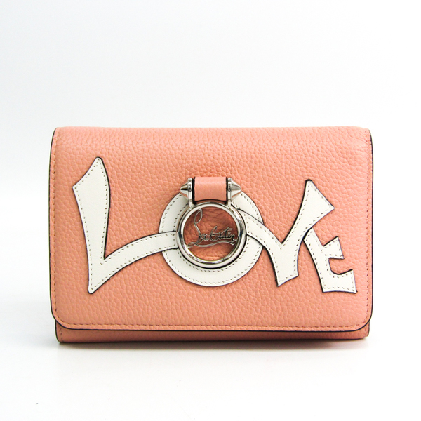 Christian Louboutin RUBYLOU WALLET LOVE CA 3185127 Women's Leather Middle Wallet (tri-fold) Light Pink,Red Color