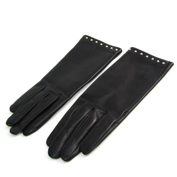 Hermes Soya Gloves Gloves H005062GT01065 Women's Gloves Black Leather