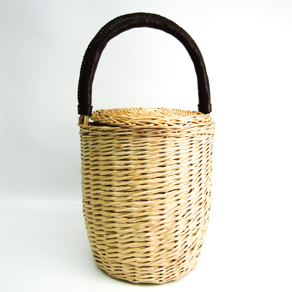 Celine Basket Bag Women's Leather,Straw Handbag Beige,Dark Brown